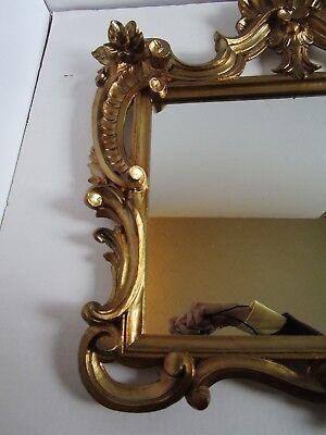 "Florentine Hollywood Regency Shell Gold tone Wall Mirror Ornate Italy 23¼"" W 6"