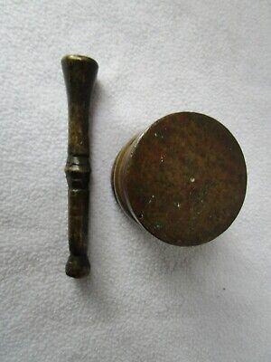 alter kleiner Messing Mörser mit Pistill 645g patiniert 5x5cm Pistill 11,5cm 4