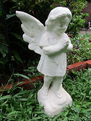 """Vintage 19"""" Tall Cement Angel Garden Art Concrete Statue Praying Angel"""