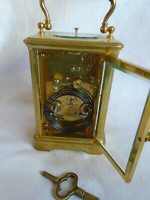 Antique 1880 Stunning Margaine  Repeater Carriage Clock + Key In Gwo 7