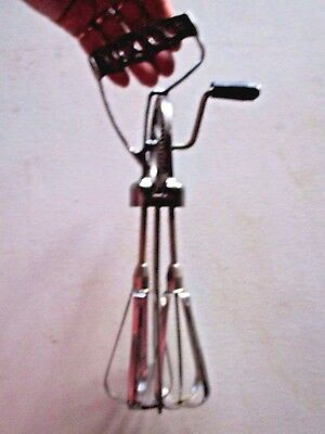 "AS IS Vintage 11.5"" Metal Slant Handle Rotary HAND MIXER Black Knob EGG BEATER"
