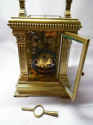 Very Large French Repeater / Alarm Carriage Clock In Excellent Condition + Key 8