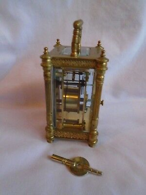 Rare Diette Hour Antique Elaborate  Timepiece Carriage Clock In Gwo + Key 5