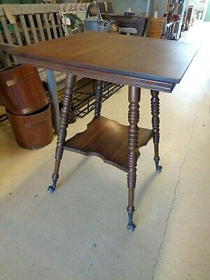 Antique Oak Table - Turned Legs - Claw & Glass Ball Feet 7