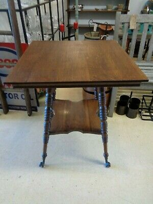 Antique Oak Table - Turned Legs - Claw & Glass Ball Feet 2