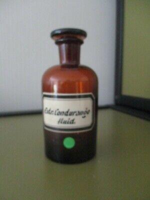 Sehr alte Apotheken-Flasche Braunglas Schliffstopfen, gemaltes Etikett, ca 200ml 2