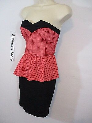 New bebe SEXY STRAPLESS PEPLUM DRESS SIZE S Captivating Coral color Peplum dress 4
