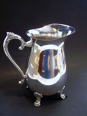 Handcrafted Silver Plated 4 Footed Guard Lip Ornate Water Beverage Pitcher EUC 2