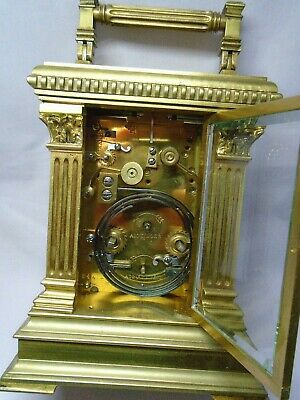 Very Large French Repeater / Alarm Carriage Clock In Excellent Condition + Key 9
