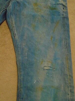 ed1400fd ... PRPS BARRACUDA Mens Indigo Mud Stains Faded Splattered Dirty Jeans 44  Orig $395+ 8