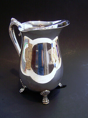 Handcrafted Silver Plated 4 Footed Guard Lip Ornate Water Beverage Pitcher EUC 3