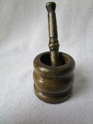 alter kleiner Messing Mörser mit Pistill 645g patiniert 5x5cm Pistill 11,5cm 2