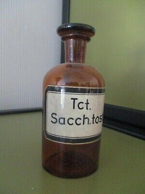 Sehr alte Apotheken-Flasche Braunglas Schliffstopfen, gemaltes Etikett, ca 200ml 4