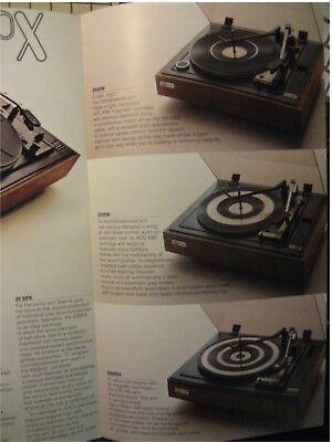 BSR Turntables Original Brochure 20BPX, 200BAX, 100BAX 3