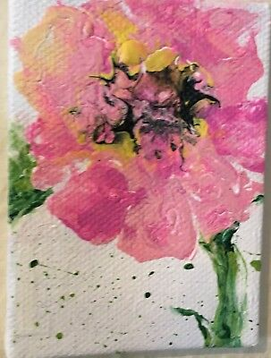 Aceo Acrylic Painting~ -Pink Flower~Artist~Marina Del Rey~Original 2