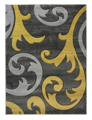 Small - Extra Large Silver Grey / Ochre Mustard Yellow Carved Damask Elude Rug 5
