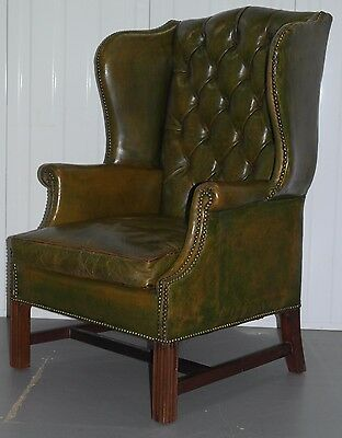 Georgian Chesterfield Wingback Armchair & Matching Footstool Rare Find Must See 4
