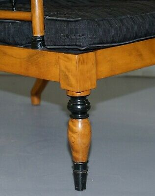Antique Satin Birch Wood Swedish Biedermeier Library Reading Armchair Ebonished 8