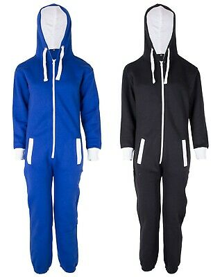 Kids Boys Girls Plain Hooded 1Onesie All in one Jumpsuit Playsuit Sizes 7-13 YRS 10