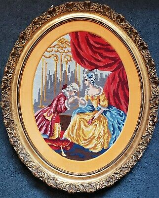 Antique Victorian Oval Wood Gold Gilt very ornate Frame EMBROIDERED Man n woman 8