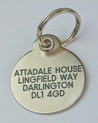 Deluxe gravé étiquettes pour animaux Laiton ou Argent métallique 2 tailles 2