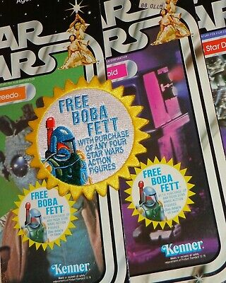 "Kenner STAR WARS ""FREE! Boba Fett"" Vintage style 3.5"" Iron-on embroidered patch 7"