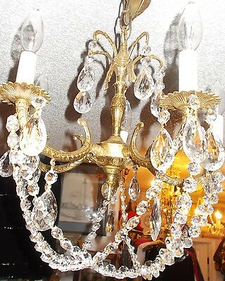 "Dramatic  Antique Spanish Brass 5 Arm Chandelier w/ Unique Button Prism ""Basket"" 5"