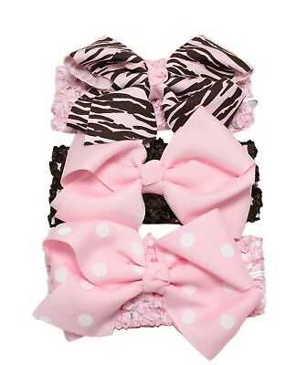 3pc Baby Girl Elastic Headbands 0/3/6/9/12/18/24 Months Pink Lilac Bow Flower 6