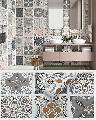 1m Moroccan Patterned Sticky Back Plastic Tiles Kitchen Bathroom Fablon Gloss Uk 14 99 Picclick Uk