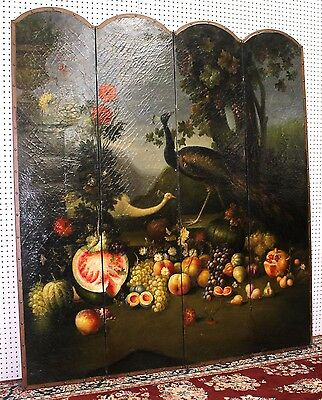 Antique Style French Four Panel Hand Painted Peacock Fruit Screen Divider 2