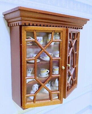 Dollhouse Miniature Wood Walnut Long Store Display Counter with Clear Top D2633