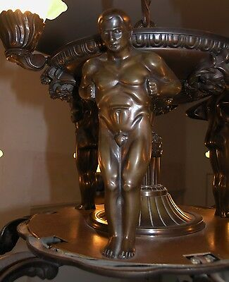 Antique Heavy Bronze Figural 9Lt. Chandelier: 1900 2