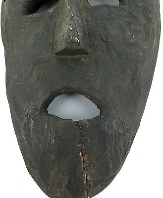 cLATE 1800s MIDDLE HILLS AREA HIMALAYAN CARVED LARGE WOODEN MASK, IMPRESSIVE! #5 3