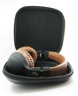 Hard Leather Carrying Case for Over-Ear Headphones Full Size Big Headset Black