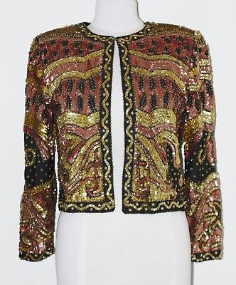 Jasdee Vintage Beaded & Sequins Jacket Hand Work Blk/Copper/Gold Style 9930 2