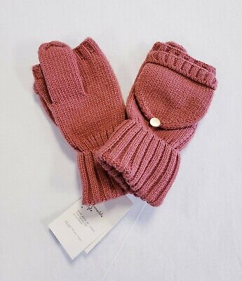 A New Day Women's Knit Flip-Top Mittens One Size Rose Pink Blush 2