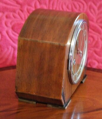 Vintage Art Deco English 8-Day Striking Mantel Clock with German Movement 4