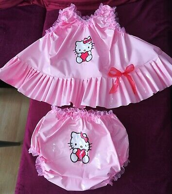 Adult Baby Set Pvc Slips+ Oberteil Gummihose Lack Windelhose Pants Hello Kitty 5