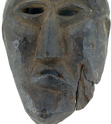 cLATE 1800s MIDDLE HILLS AREA HIMALAYAN CARVED WOODEN MASK, VERY IMPRESSIVE! #3 3