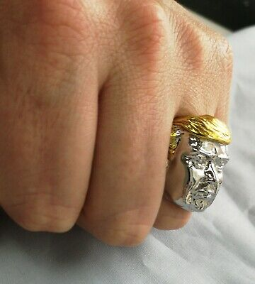 Silver Donald Trump Ring Gold US President Make America Great Again Great Leader 10