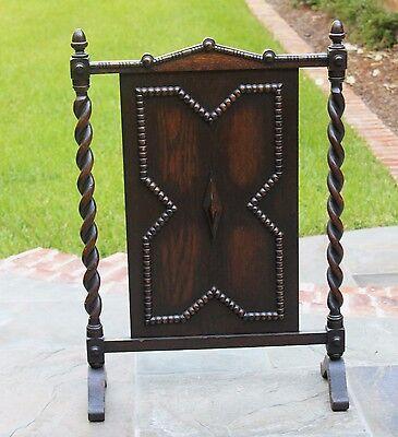 Antique English Dark Oak Jacobean Barley Twist  Hearth Fireplace Screen 9