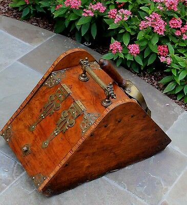 Antique French Burled & Inlaid Walnut Fireplace Hearth Coal Hod Scuttle Shovel 12