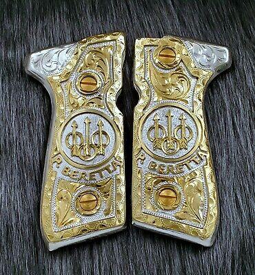Beretta 92fs rameaditas engraved alpaca metal made resin and pavon finish gun grips,cachas artesanales hechas de alpaca pavoneadas y resina