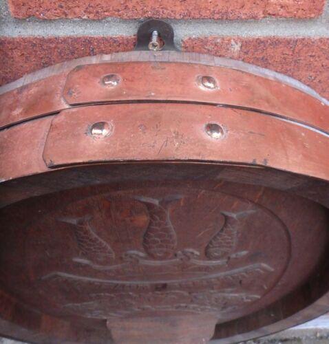 1952 commemorative German armorial carved oak copper pub sign wine barrel end 5
