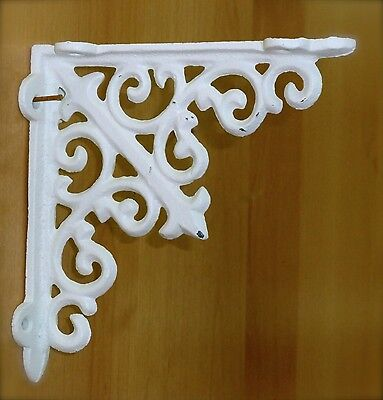 "4 WHITE ANTIQUE-STYLE 5.5"" SHELF BRACKETS CAST IRON garden rustic fleur ARROW 3"