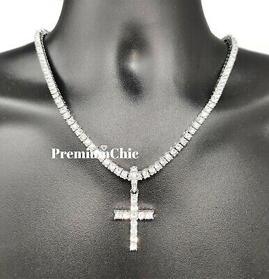 ICED Cross Pendant & Tennis Chain Choker Gold Silver Plated Mens HipHop Necklace 4