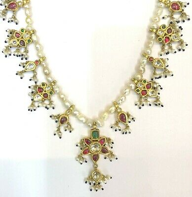 Vintage antique 20K Gold jewelry Diamond Polki Ruby Emerald Pearl Necklace 3