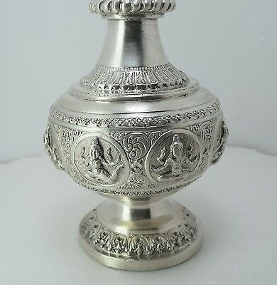 ANTIQUE 1920 PURE  STERLING SILVER Perfume / Gulab Art Figure Bottle 2