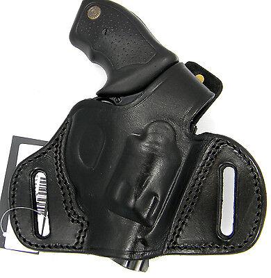 TAGUA BLACK LEATHER Mini Thumb Break Owb Belt Holster - Ruger Sr9, Sr40