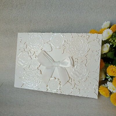 1 10 30 50 Laser Cut Wedding Invitations Embossed 3 Fold Ribbon Cards Envelope